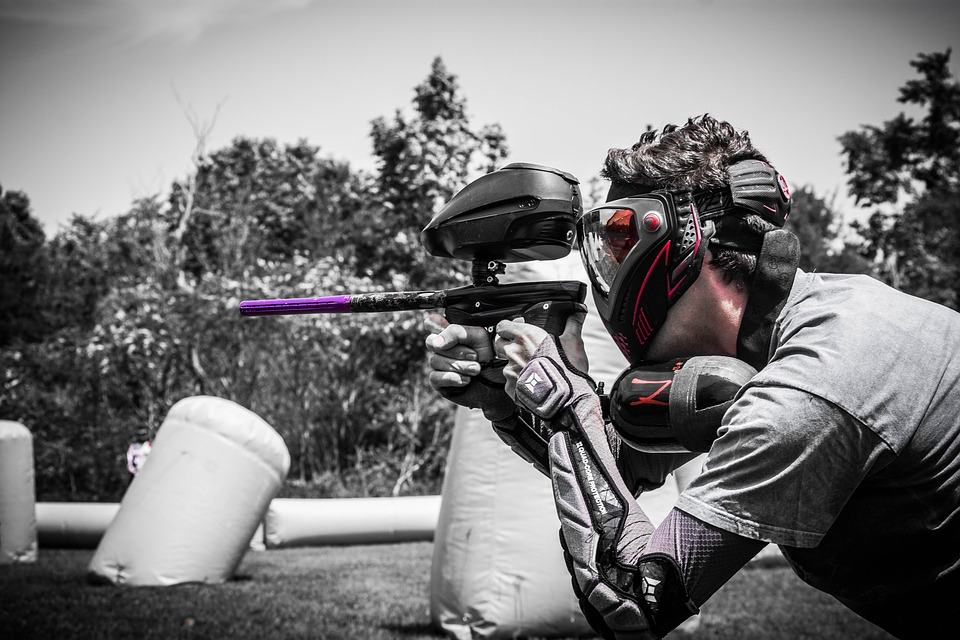 paintball player aiming