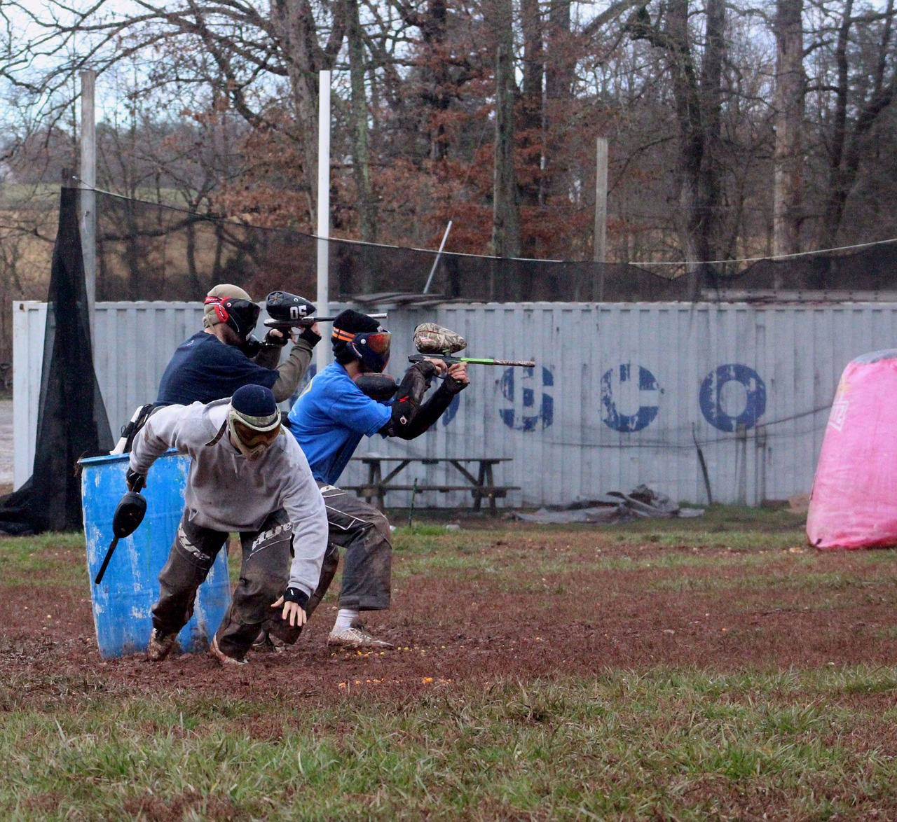 Group of people playing paintball