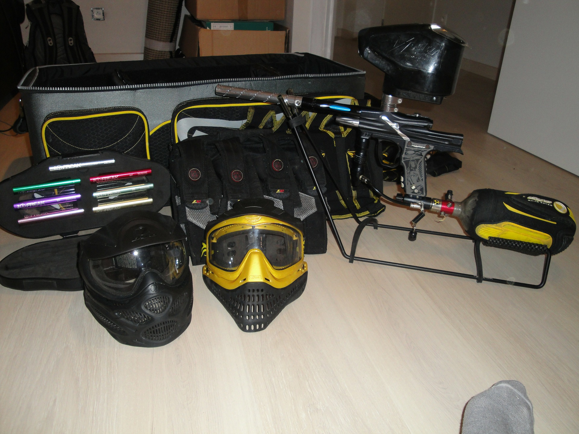 Paintball gear including mask,vest,gun,and helmet