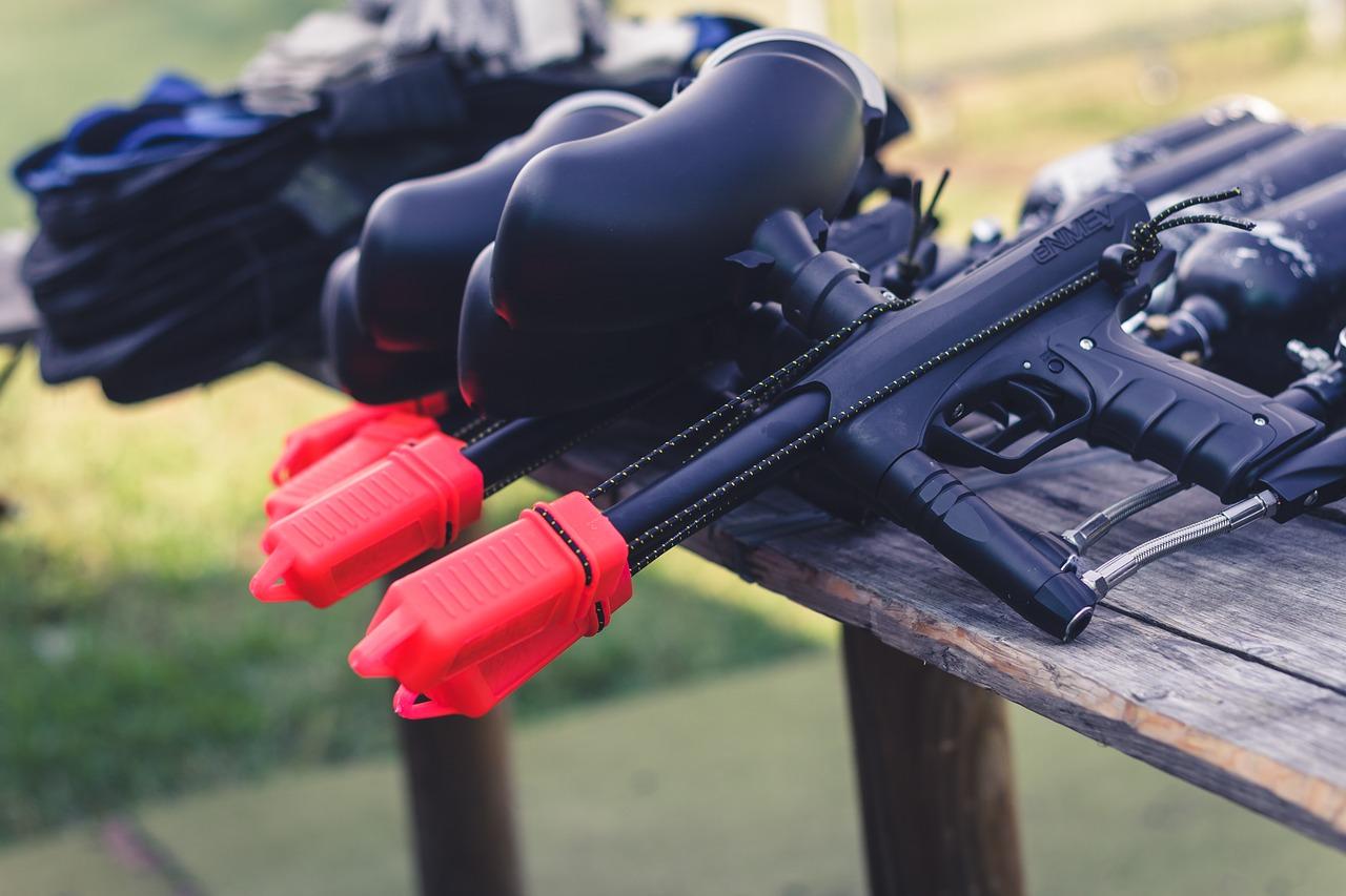 paintball guns on table
